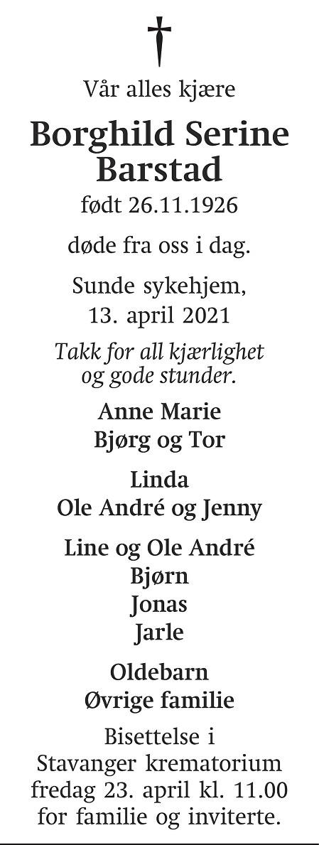 Borghild Serine Barstad Dødsannonse