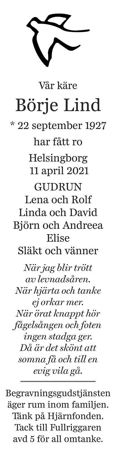 Börje Lind Death notice