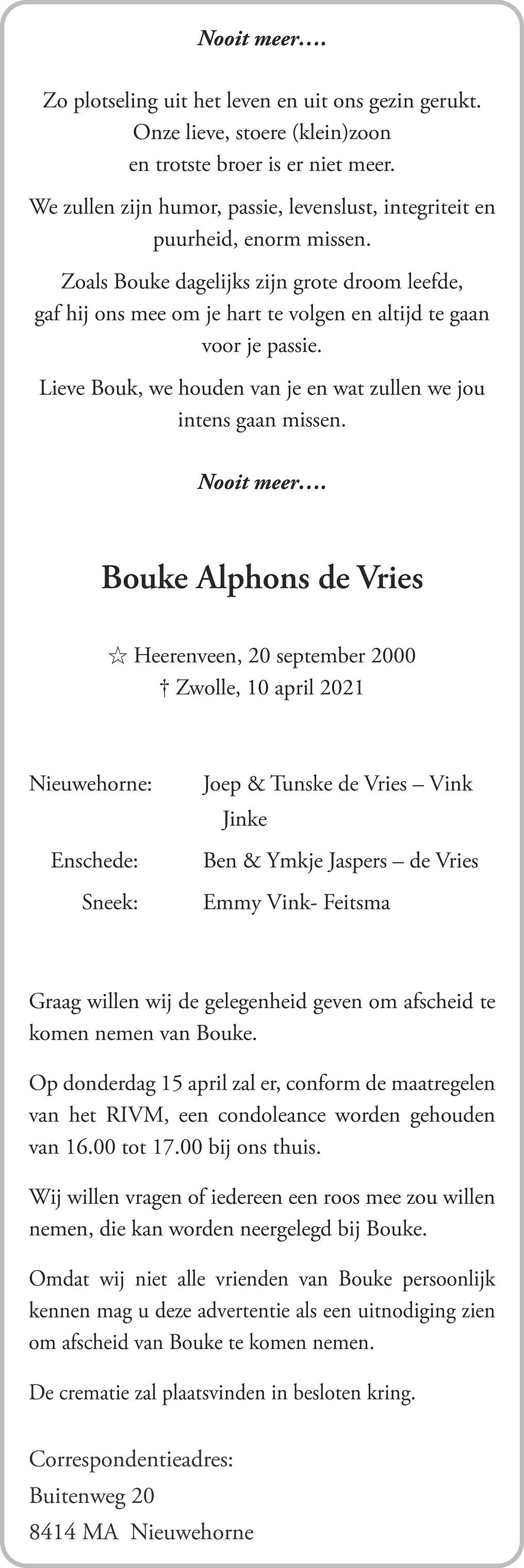 Bouke Alphons De Vries Death notice