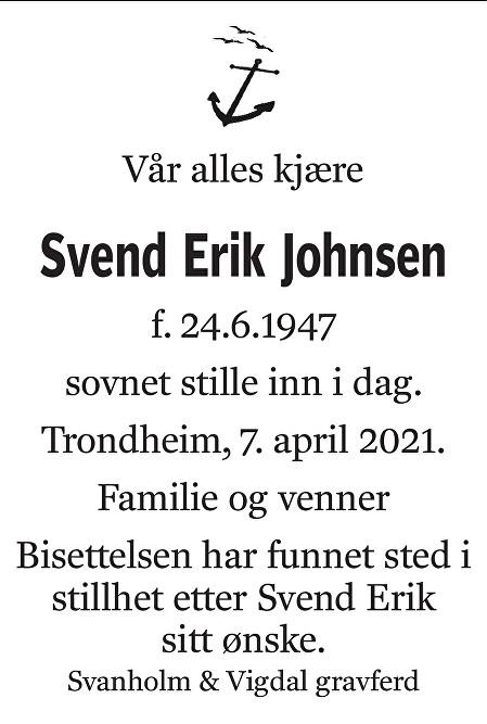 Svend Erik Johnsen Dødsannonse