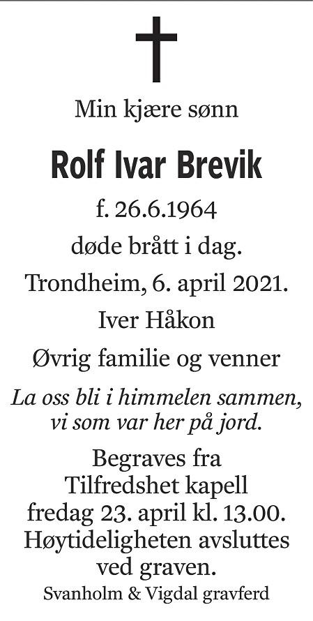 Rolf Ivar Brevik Dødsannonse