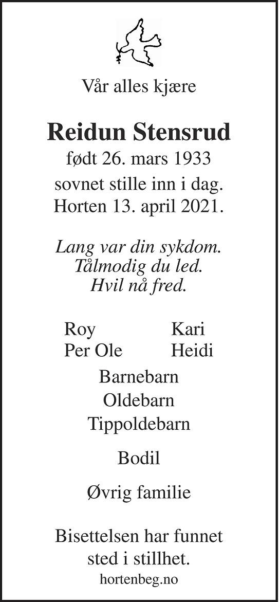 Reidun Tordis Stensrud Dødsannonse