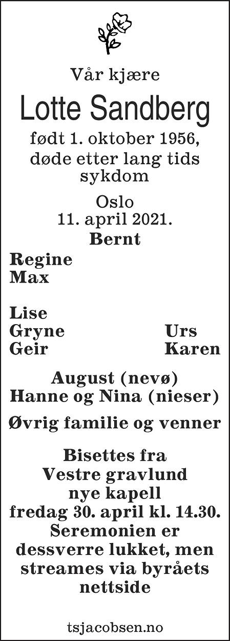 Lotte Helene Sandberg Dødsannonse