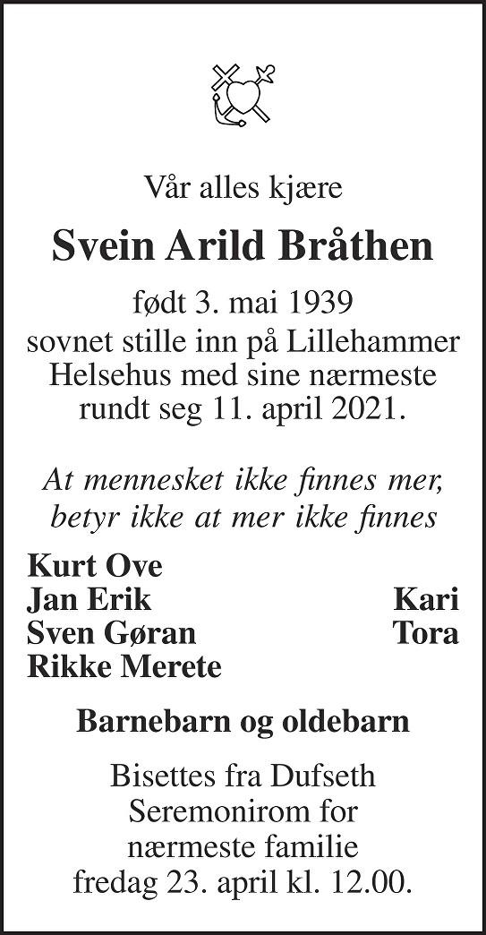 Svein Arild Bråthen Dødsannonse