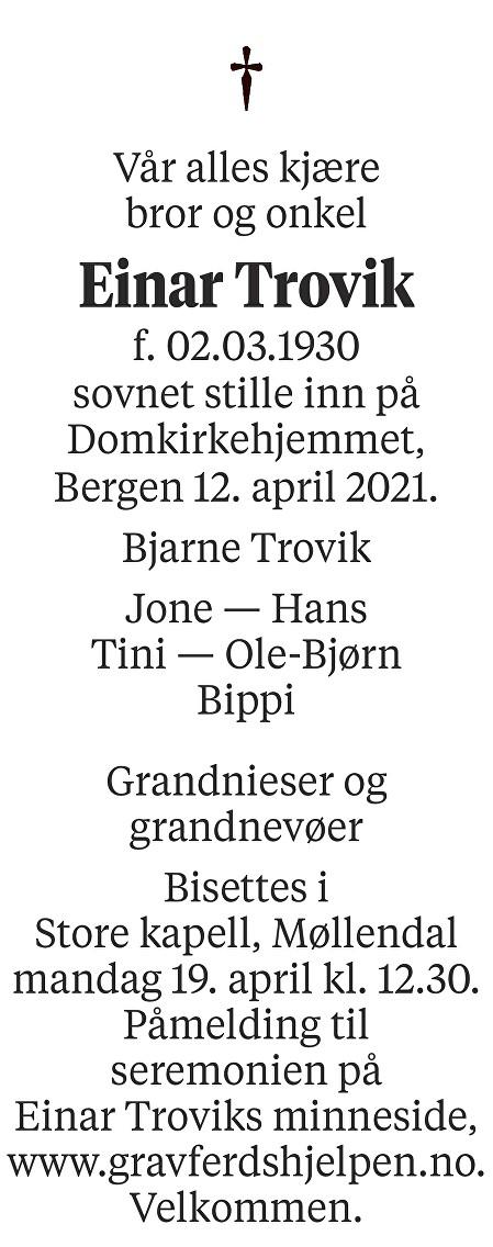 Einar Trovik Dødsannonse