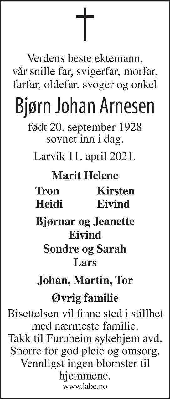 Bjørn Johan Arnesen Dødsannonse