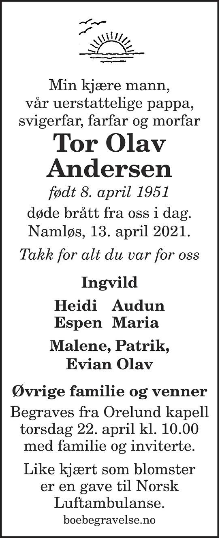 Tor Olav Andersen Dødsannonse