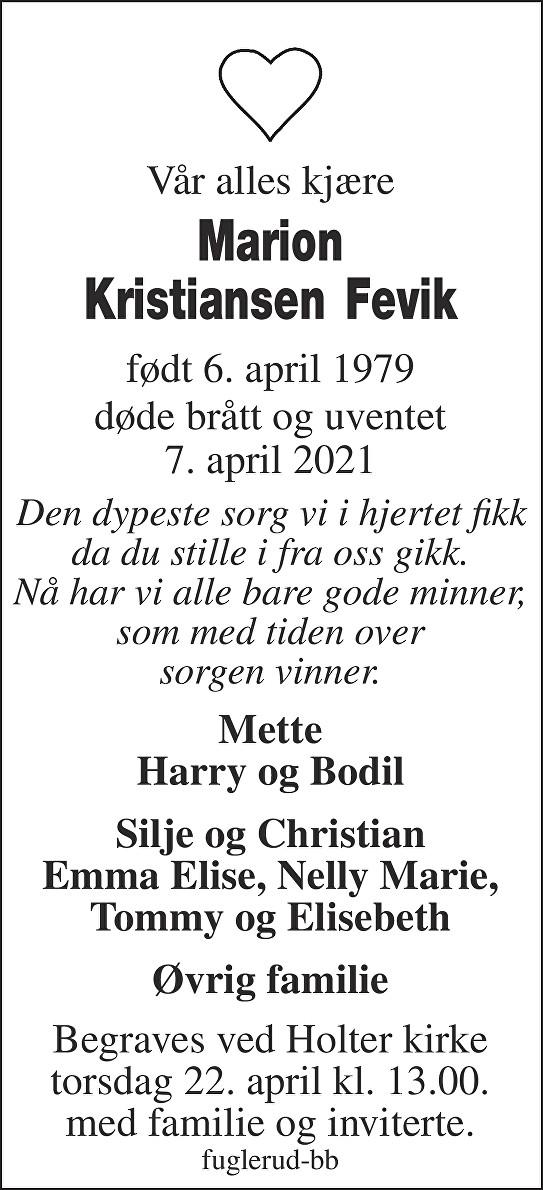 Marion Kristiansen Fevik Dødsannonse