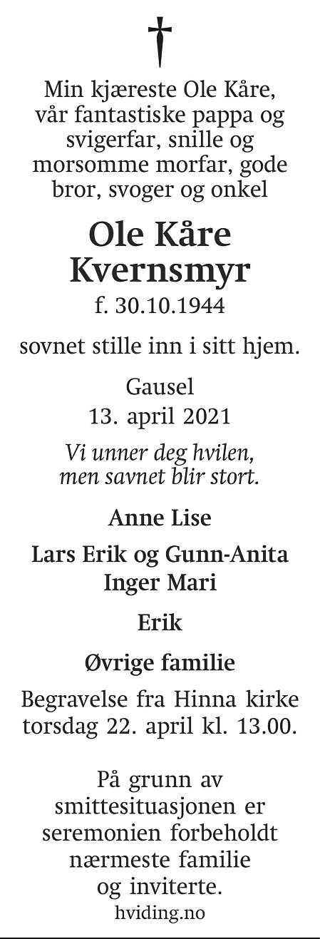 Ole Kåre Kvernsmyr Dødsannonse