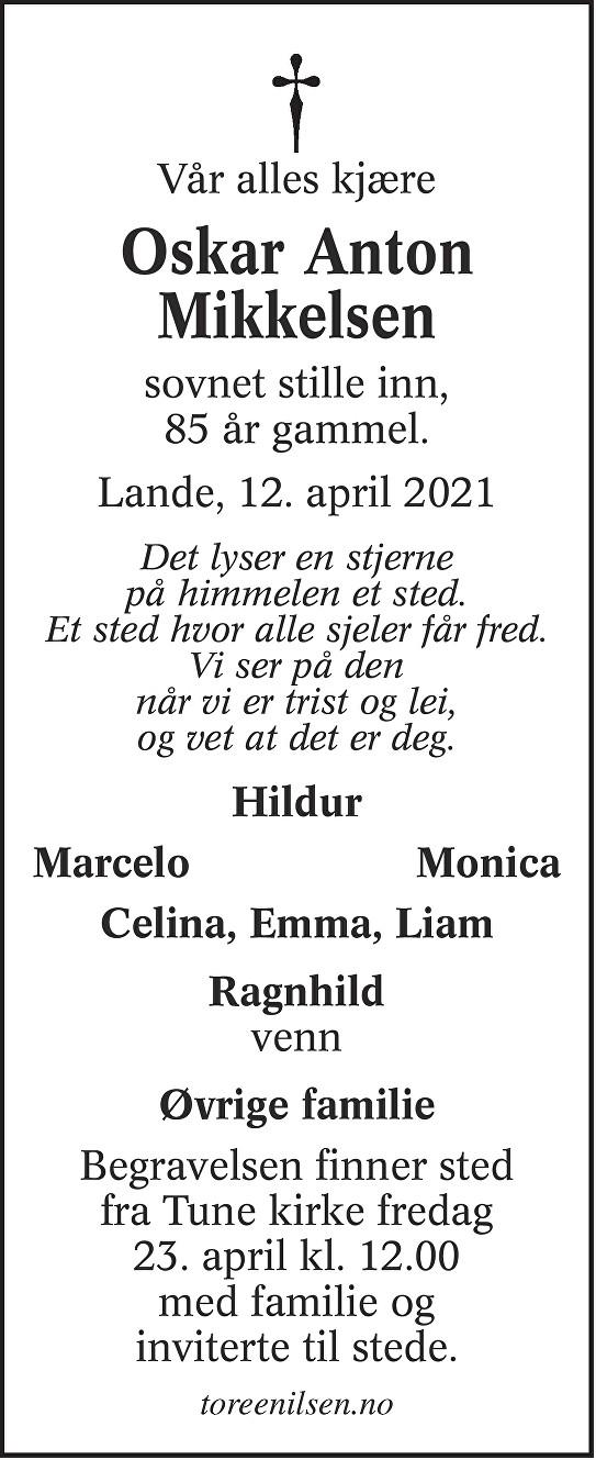 Oskar Anton Mikkelsen Dødsannonse