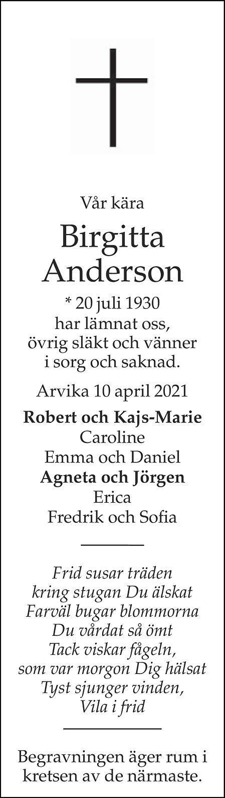 Birgitta Anderson Death notice