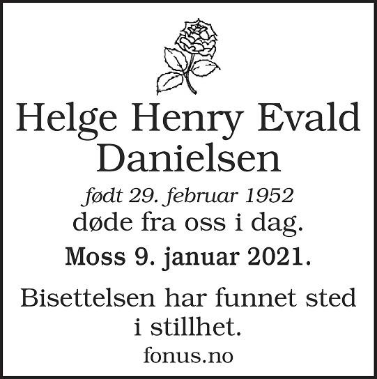 Helge Henry Evald Danielsen Dødsannonse