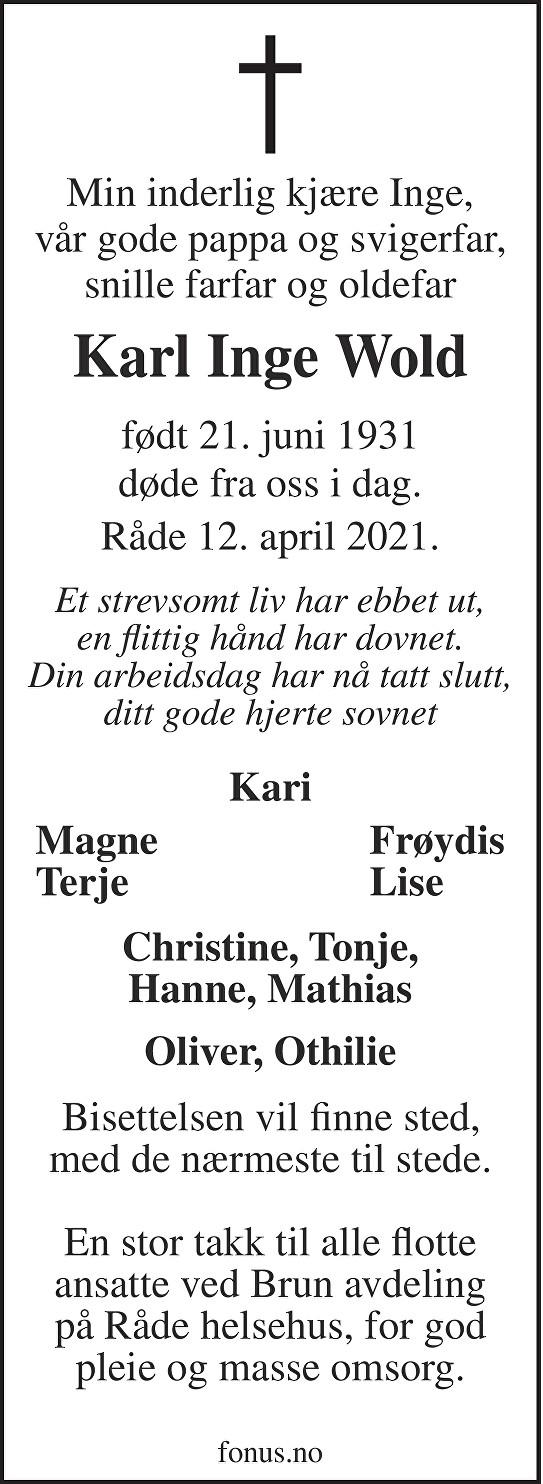 Karl Inge Wold Dødsannonse