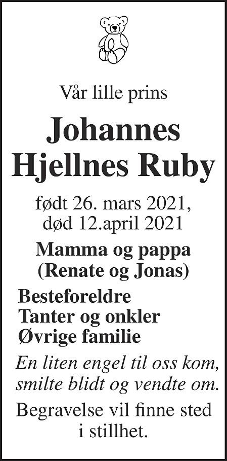 Johannes Hjellnes Ruby Dødsannonse