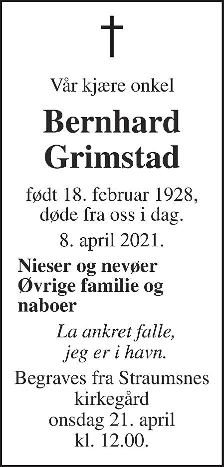 Bernhard Grimstad Dødsannonse