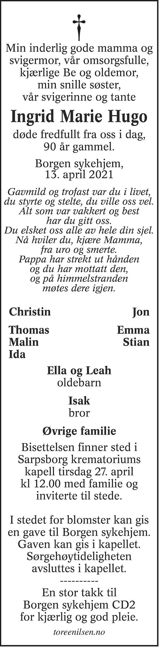Ingrid Marie Hugo Dødsannonse