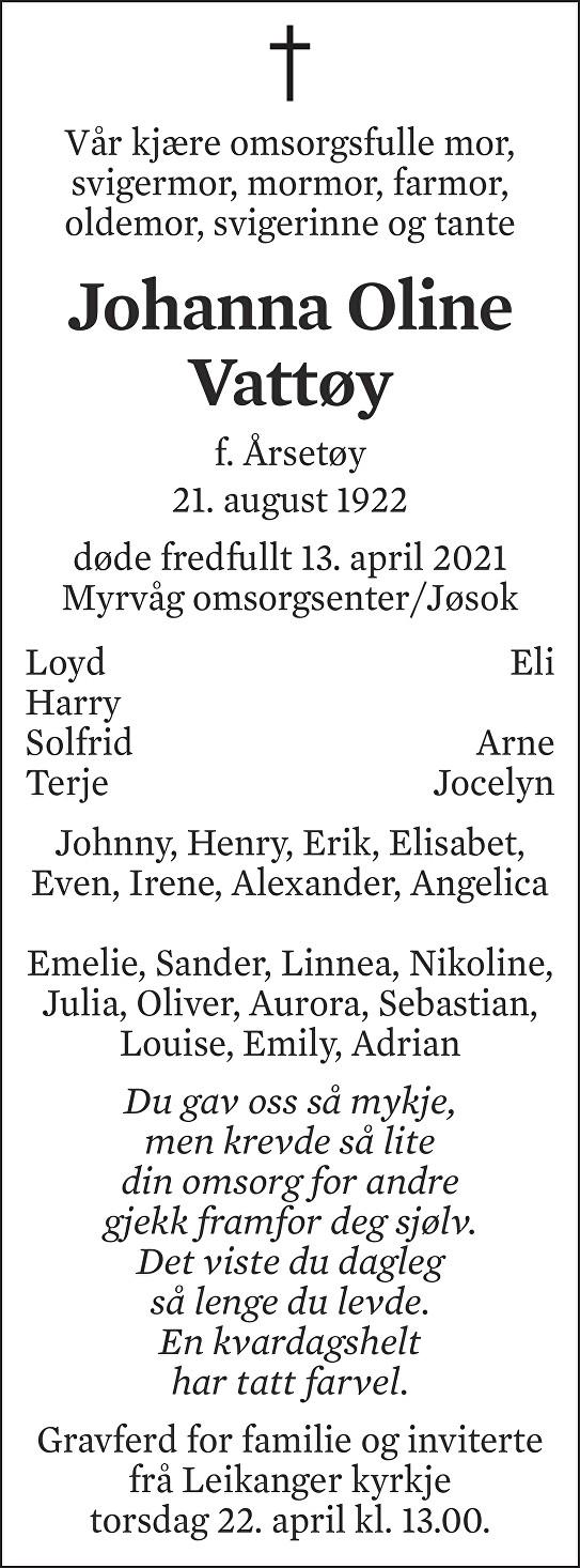 Johanna Oline Vattøy Dødsannonse