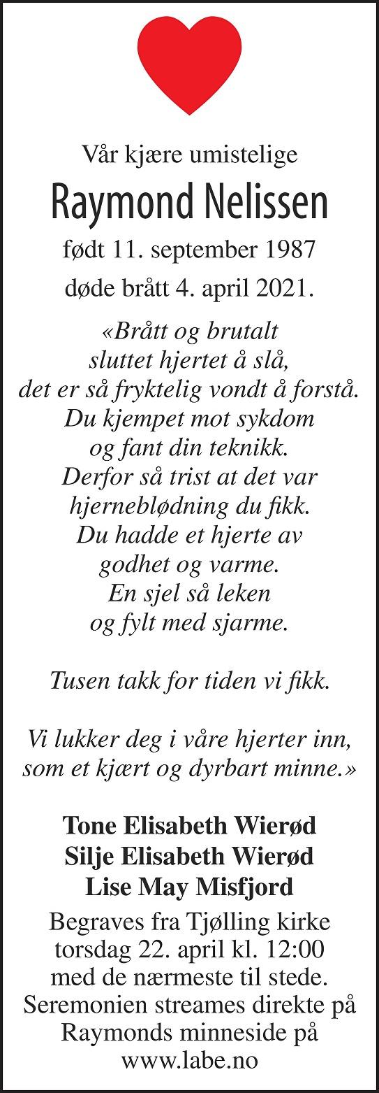 Raymond Nelissen Dødsannonse