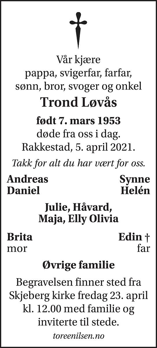 Trond Løvås Dødsannonse