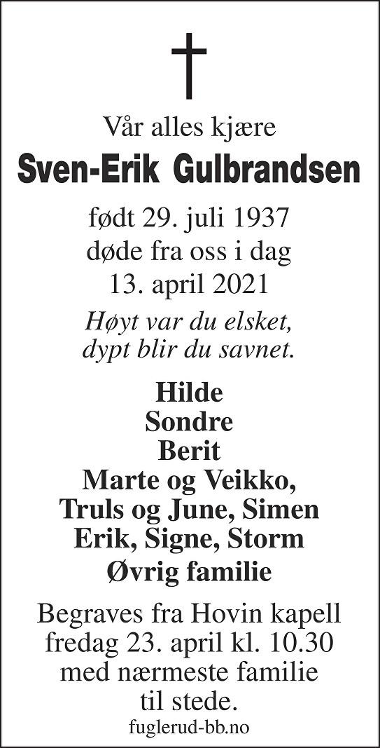 Sven-Erik Gulbrandsen Dødsannonse