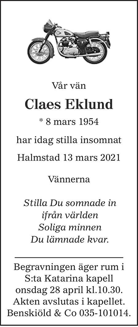 Claes Eklund Death notice