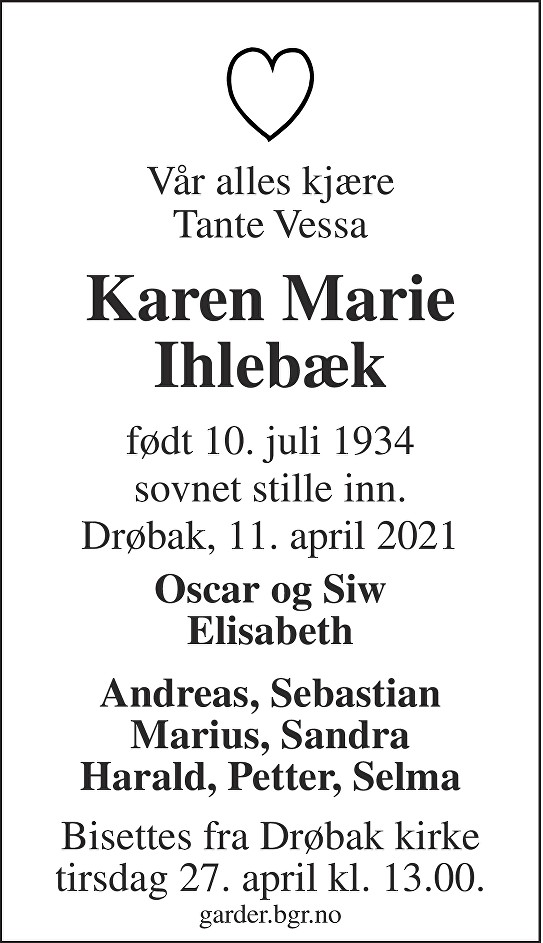 Karen Marie Ihlebæk Dødsannonse
