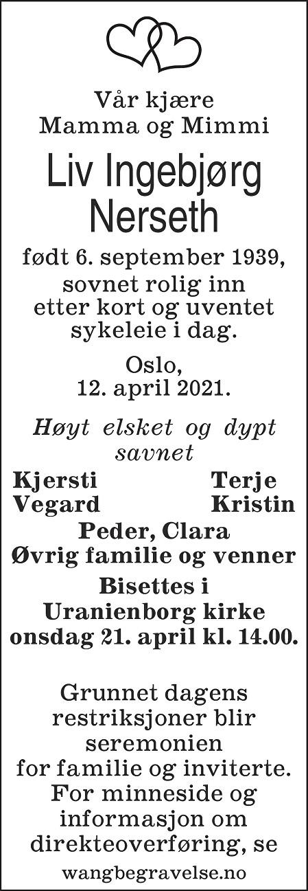 Liv Ingebjørg Nerseth Dødsannonse