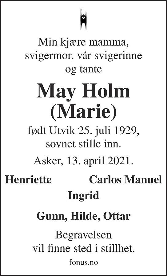 Marie Holm Dødsannonse
