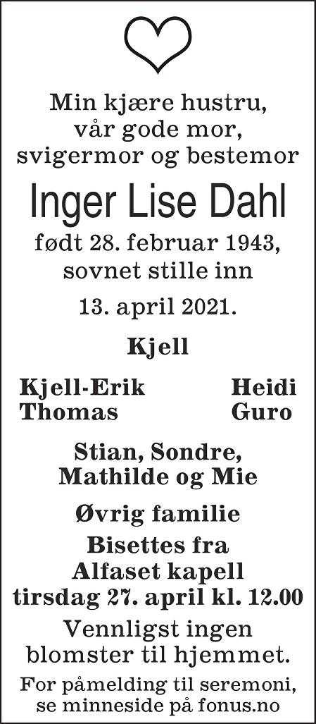 Inger Lise Dahl Dødsannonse