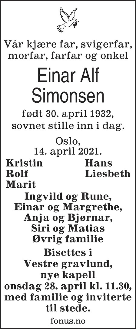 Einar Alf Simonsen Dødsannonse