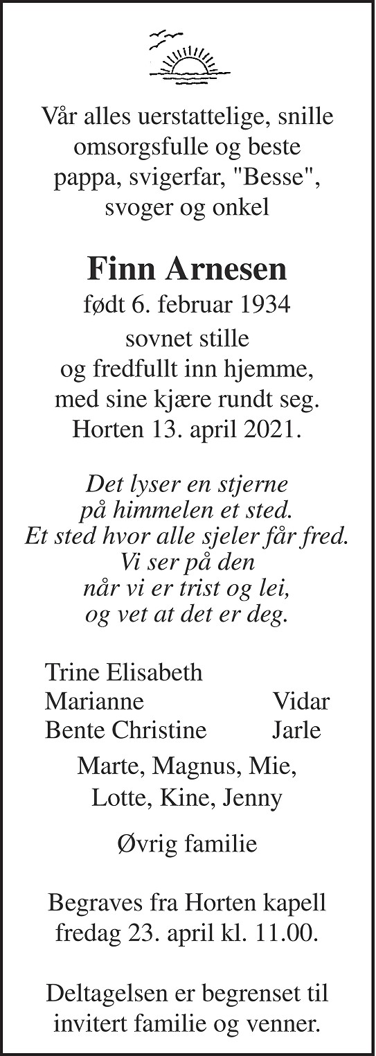 Finn Arnesen Dødsannonse