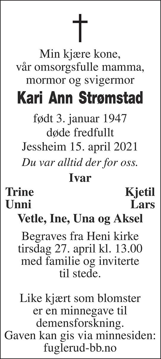 Kari Ann Strømstad Dødsannonse