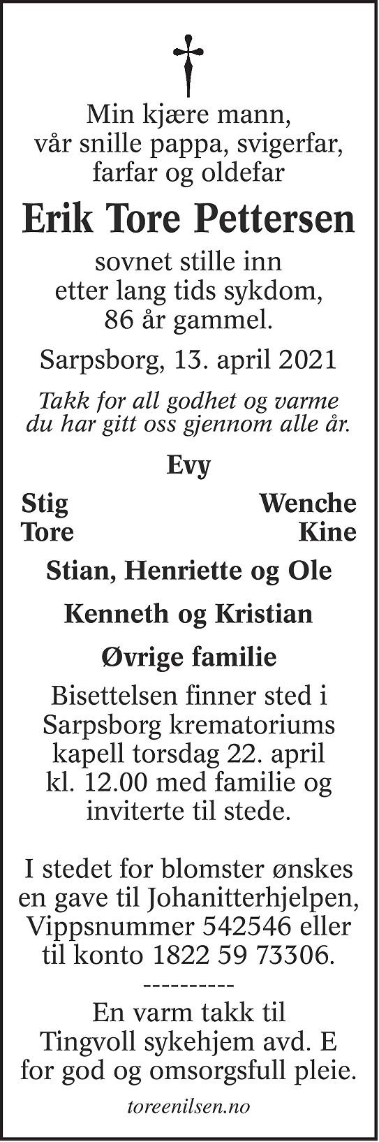 Erik Tore Pettersen Dødsannonse
