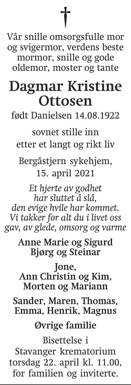 Dagmar Kristine  Ottosen  Dødsannonse