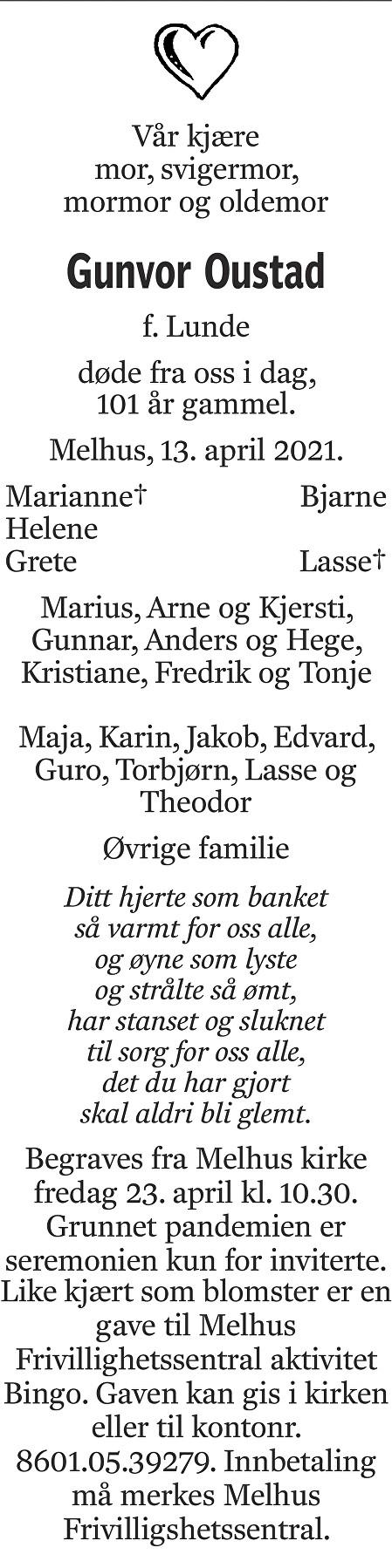 Gunvor Oustad Dødsannonse