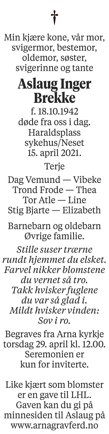 Aslaug Inger Brekke Dødsannonse