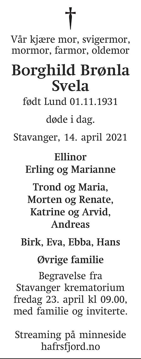 Borghild Brønla  Svela Dødsannonse
