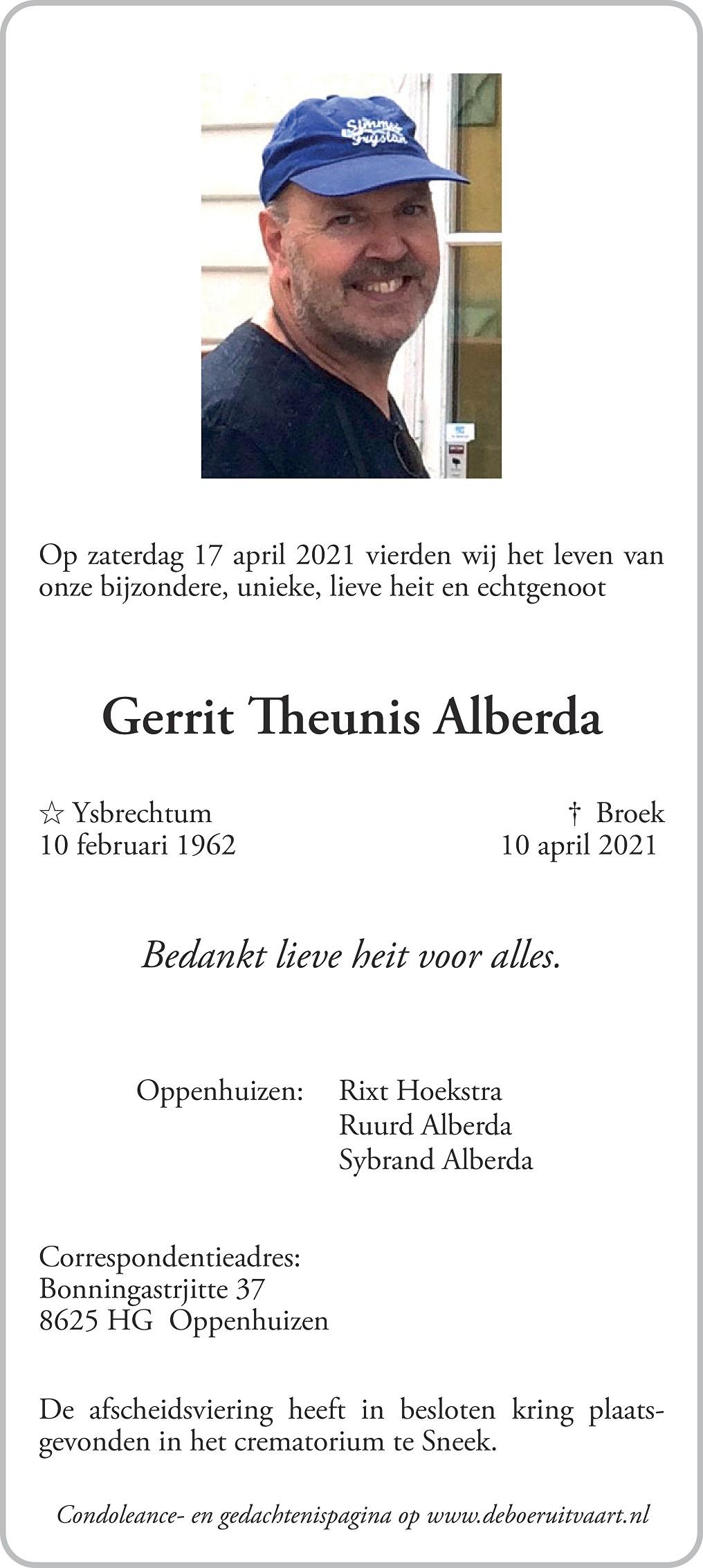 Gerrit Theunis Alberda Death notice