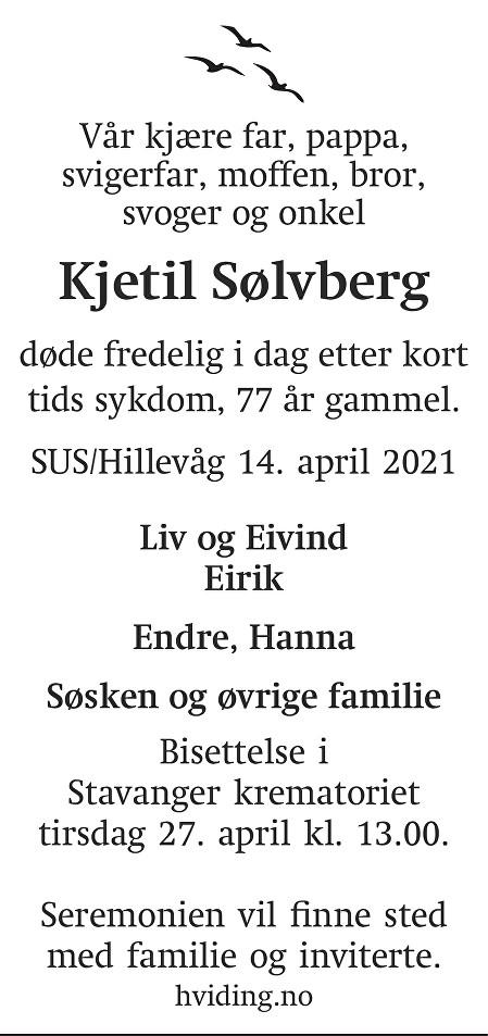 Kjetil Sølvberg Dødsannonse