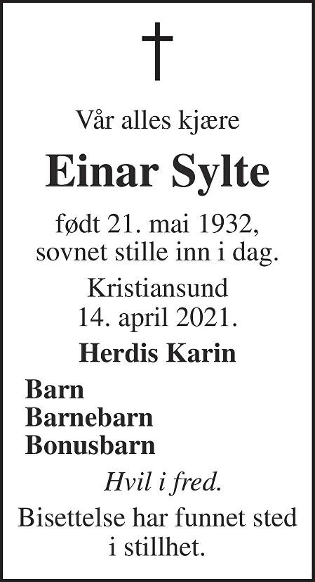 Einar Peder Sylte Dødsannonse
