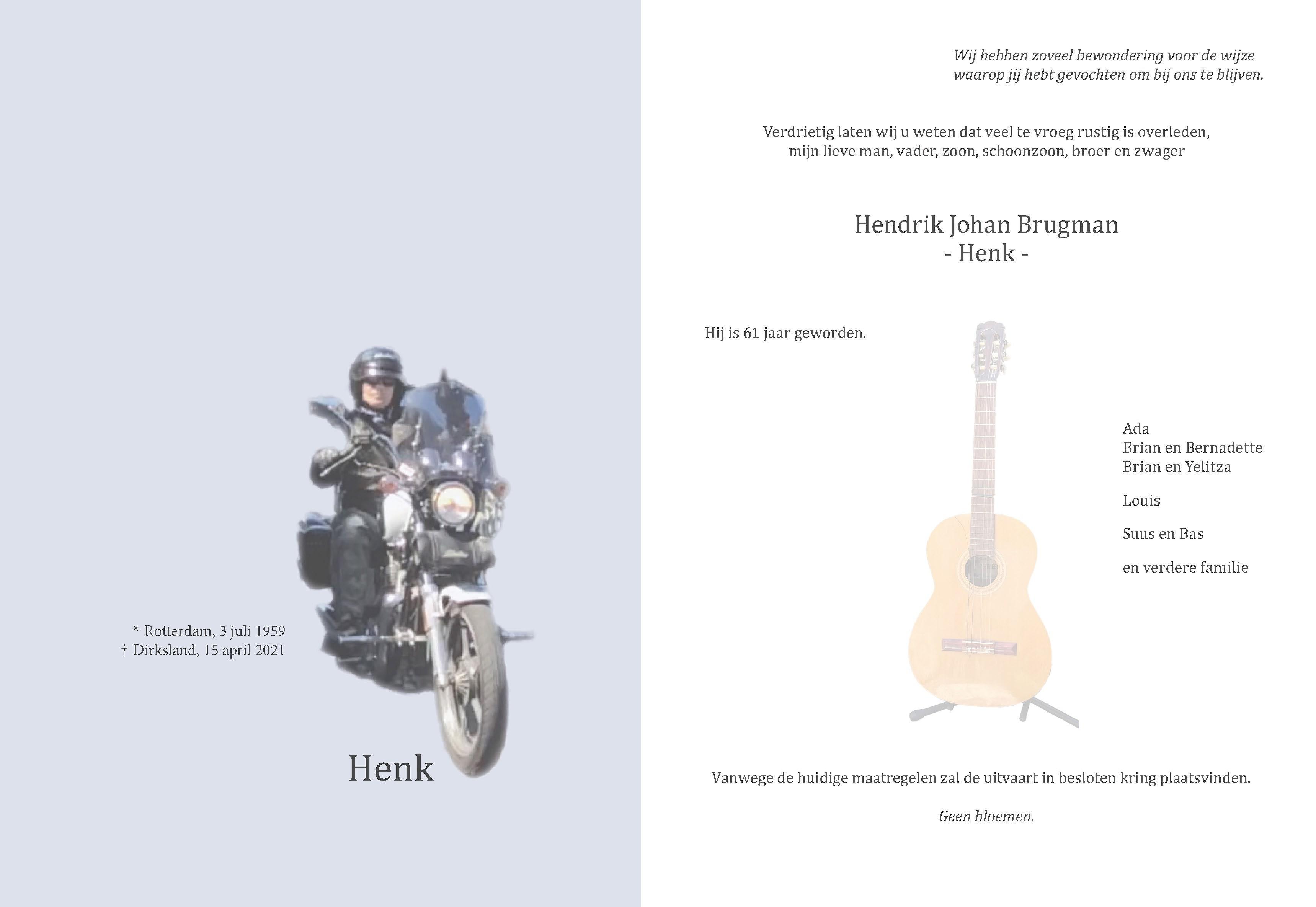 Hendrik Johan (Henk) Brugman Death notice