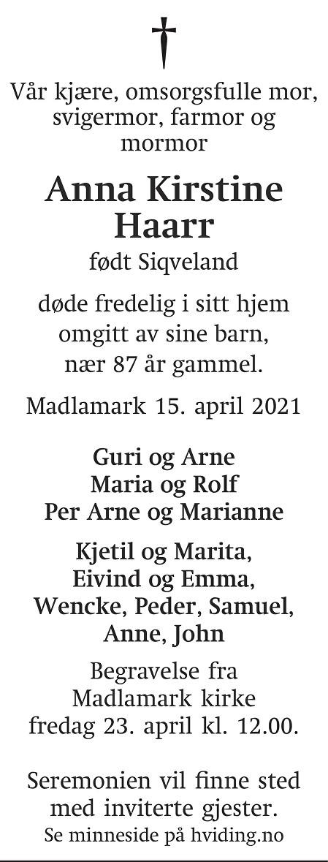 Anna Kirstine Haarr Dødsannonse