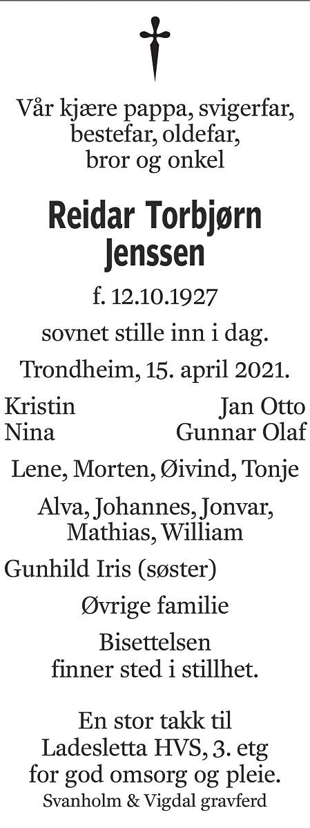 Reidar Torbjørn Jenssen Dødsannonse