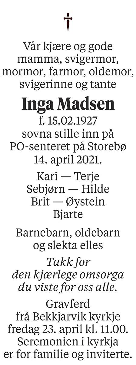 Inga Madsen Dødsannonse