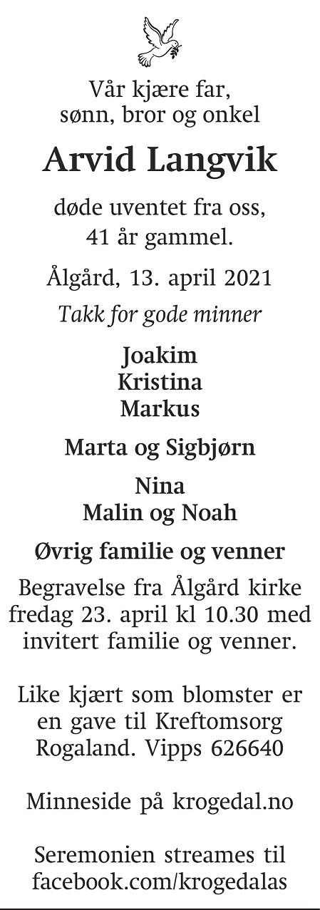 Arvid Langvik Dødsannonse
