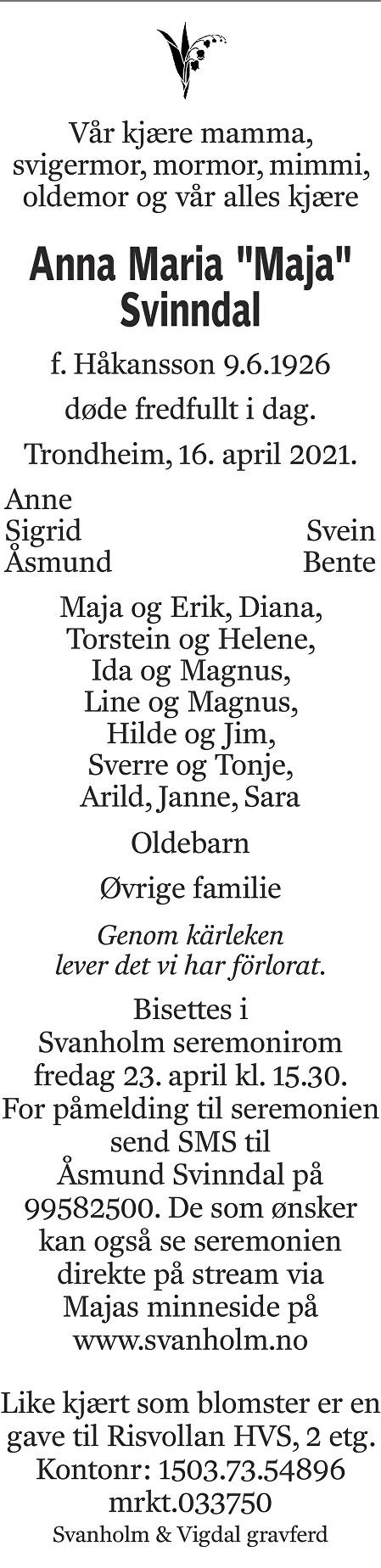 Anna Maria Svinndal Dødsannonse