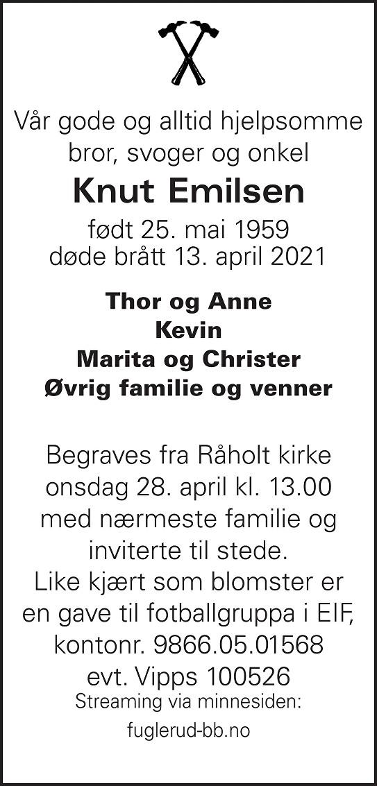 Knut Emilsen Dødsannonse