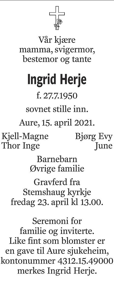 Ingrid Herje Dødsannonse