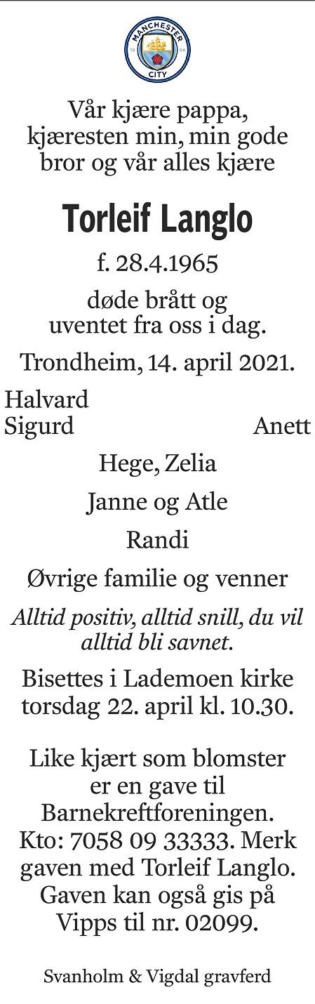 Torleif Langlo Dødsannonse
