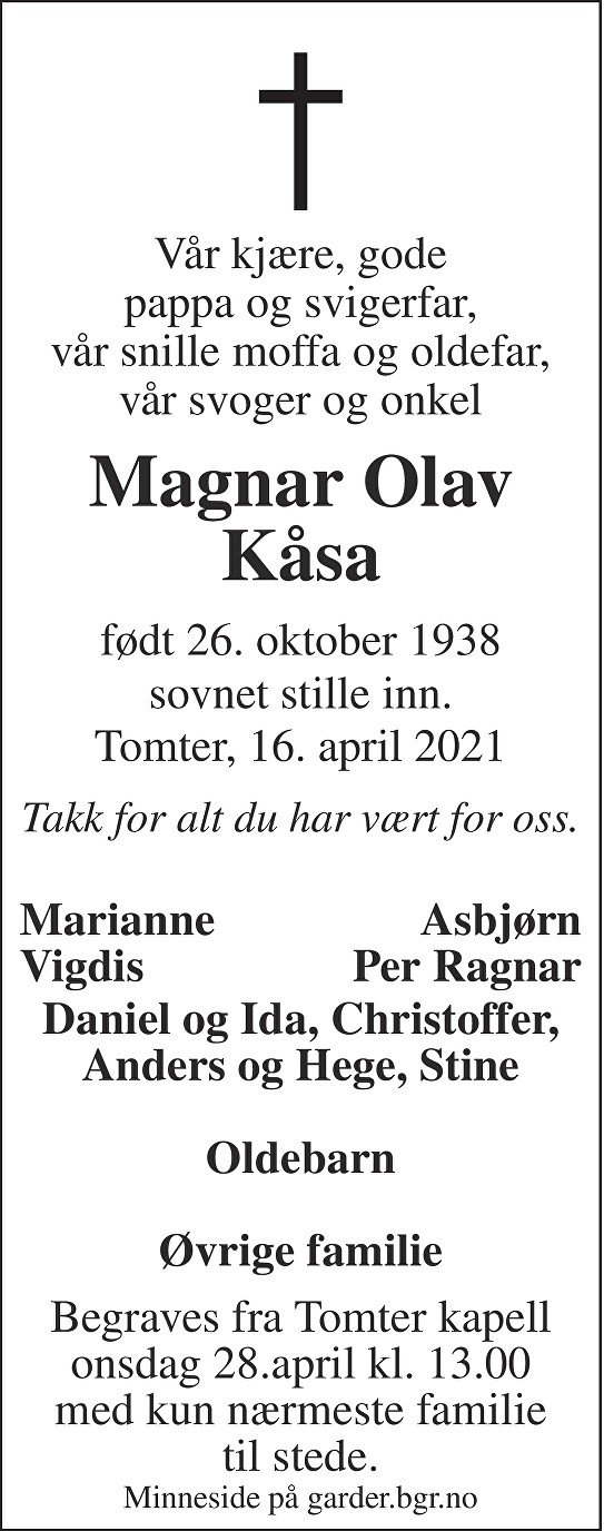 Magnar Olav Kåsa Dødsannonse